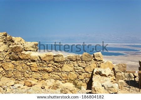 View on Dead Sea and Massada ruins, Israel - stock photo