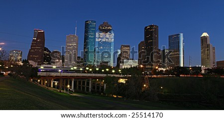 View on downtown Houston from the Bayou - stock photo