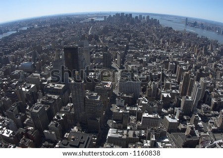 View on downtown of Manhattan - stock photo