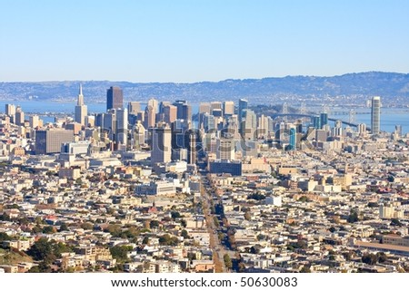 View on downtown San Francisco from Twin Peaks - stock photo