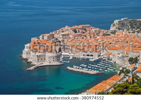 View on Dubrovnik, Croatia from the mountains with ships and yachts in harbor