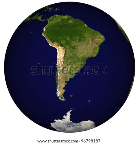 View on Earth, centered on Argentina - stock photo