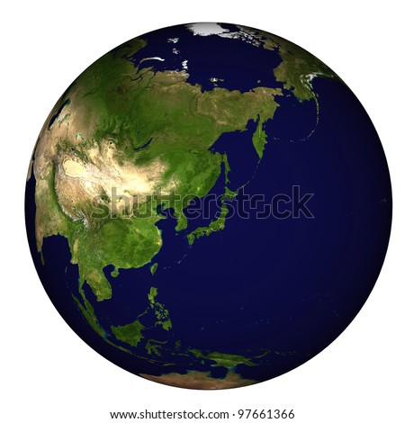 View on Earth centered on Japan - stock photo