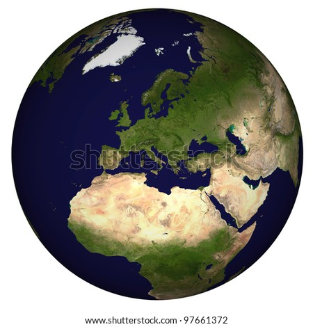 View on Earth centered on Mediterranean Sea - stock photo