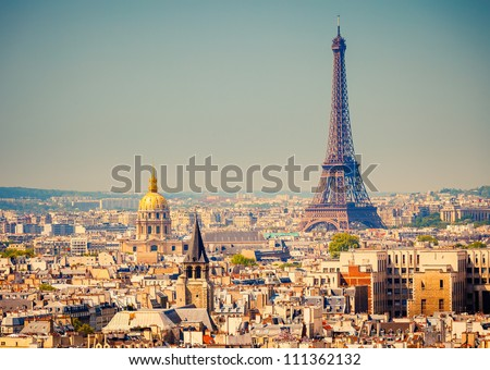 View on Eiffel Tower, Paris, France - stock photo