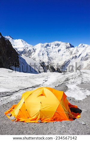 View on Everest Base Camp in Himalaya Mountains, Nepal.  - stock photo