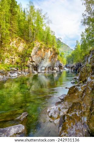 View on Girlish Reaches of mountain Altai river  Kumir  - stock photo
