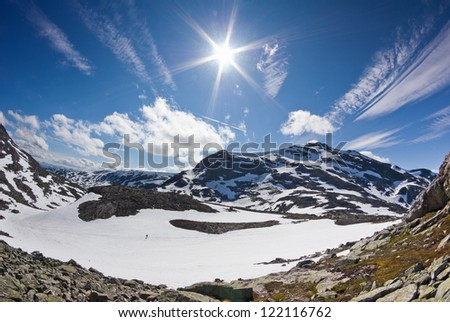 view on glacier in Norway - stock photo