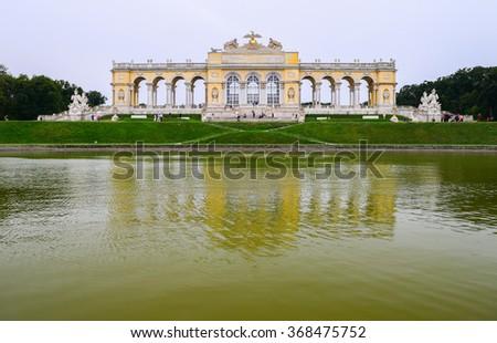 View on Gloriette structure in Schonbrunn Palace, Vienna, Austria - stock photo