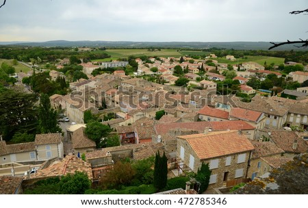 View on Grignan buildings' roofs from the hill of Grignan castle, France