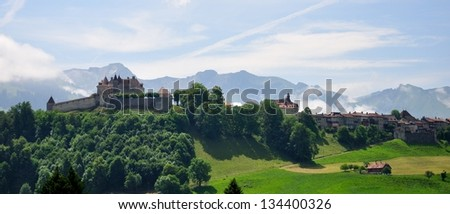 View on Gruyeres castle in Canton of Fribourg, Switzerland