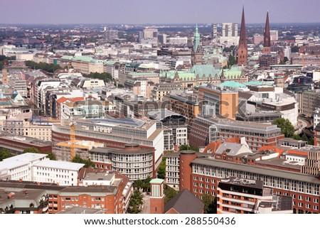 View on Hamburg from St. Michael's Church, Hamburg - stock photo