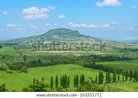 View on Hungarian countryside and Badacsony hill in summer. Veszprem region. Hungary - stock photo