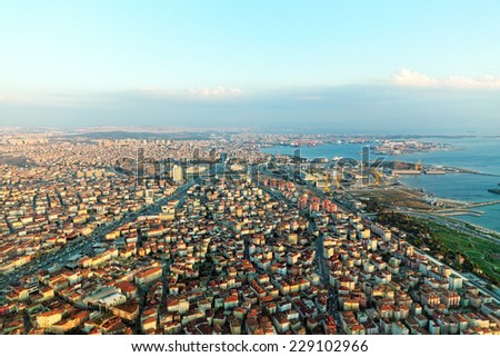 View on Istambul from airplane near Airport.Turkey - stock photo