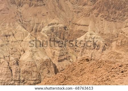 View on Judean desert mountain not far from Metzoke Dragot village. - stock photo