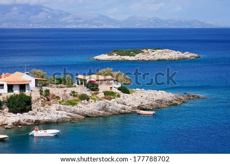 View on Kokkivo cape and north-eastern coastline of Zakynthos, Ionian islands, Greece.  - stock photo