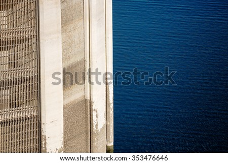 View on Lattice of Intake tower at Hoover Dam and mead lake blue water - stock photo