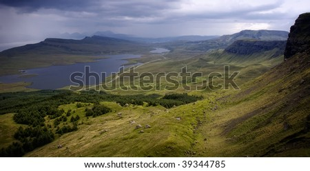 View on Loch Fada from mountain Storr on Isle of Skye, Scotland - stock photo