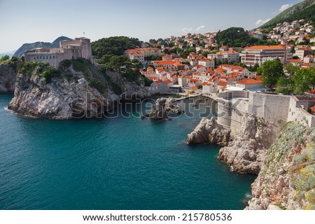 View on Lovrijenac fort, city and city walls. Lovrijenac is known as Dubrovnik's Gibraltar and it had prime importance for the defense of western part of city. - stock photo