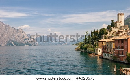 View on Malcesine and nord part of Garda lake, Italy. - stock photo