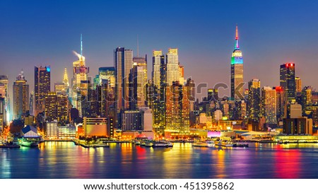 View on Manhattan at night, New York, USA - stock photo