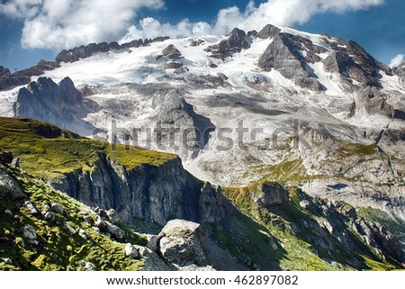 View on Marmolada glacier from Porta Vescovo mountain, HDR