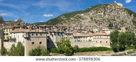 view on medieval town Entrevaux, Province, France