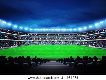view on modern football stadium with fans in the stands sport match background digital illustration my own design - stock photo