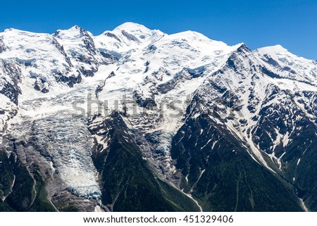 View on Mont-Blanc from the Brevent,  Chamonix, France - stock photo
