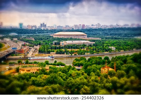 View on Moscow from the height. The Moscow River, Luzhniki Sports Complex, Moscow, Russia - stock photo