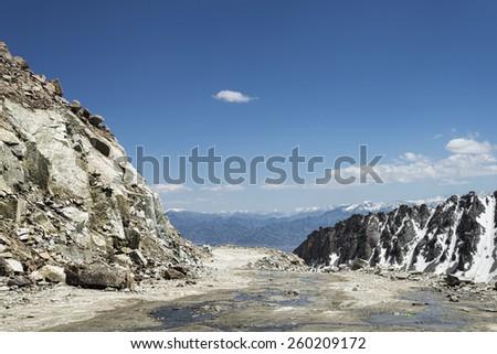 View on mountain range from Khardung La pass - stock photo