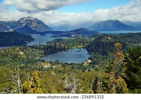 View on Nahuel Huapi lake from Cerro Campanario near Bariloche, Argentina - stock photo