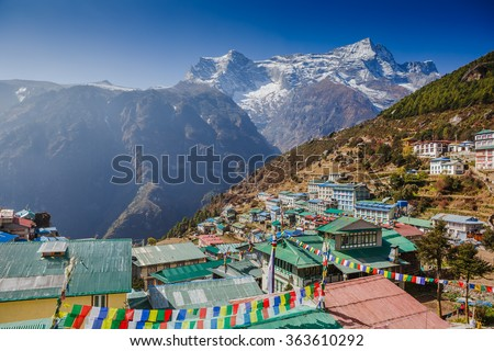 View on Namche Bazar, Khumbu district, Himalayas, Nepal  - stock photo