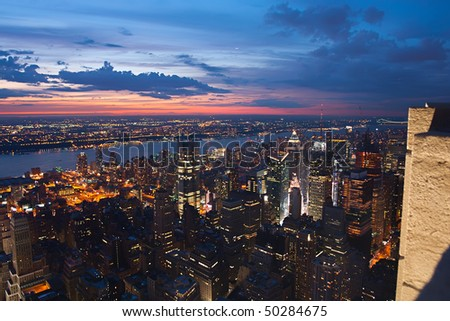 View on New York after sunset