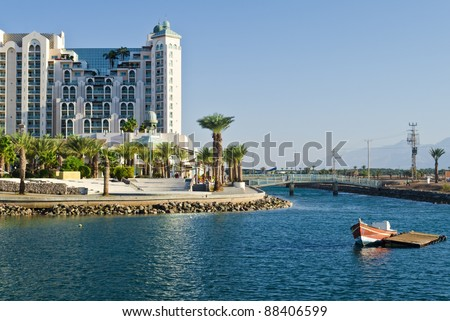 View on northern beach of the Red Sea in Eilat – famous resort and recreation town in Israel - stock photo