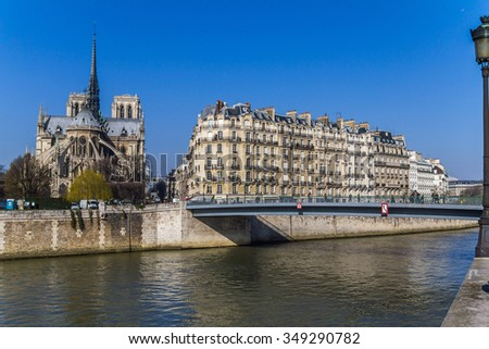 View on Notre Dame and houses on the river in Paris, France - stock photo