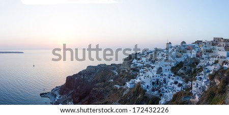 View on Oia in Santorini Greece at sunset