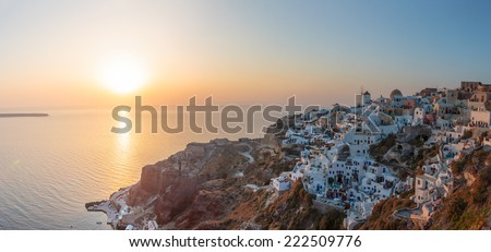View on Oia in Santorini Greece at sunset - stock photo