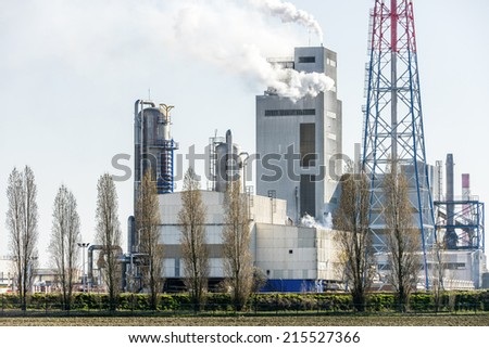 View on Oil refinery  unit in the countryside - stock photo