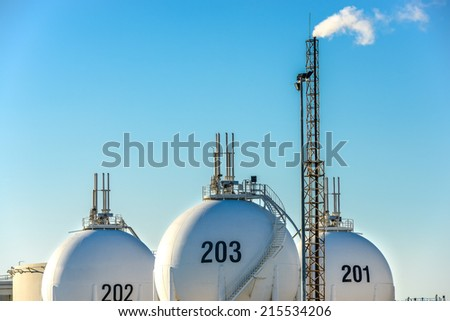 View on Oil storage unit in the countryside - stock photo