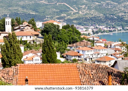 View on old part of Ohrid Town - Macedonia, Balkans - stock photo