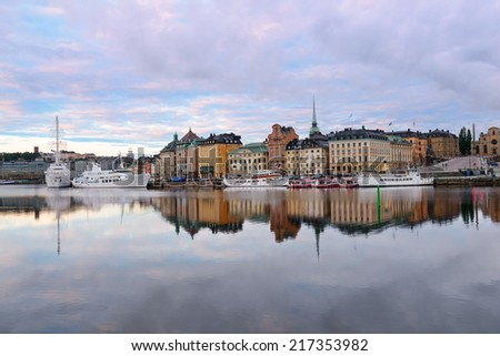 View on Old Town at dawn. Stockholm. Sweden - stock photo