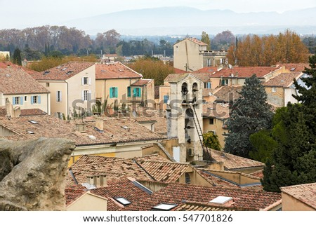 view on old town from Roman amphitheatre, Orange, Provence
