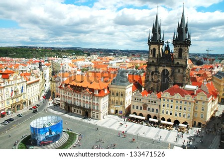 View on Old Town Square in Prague, Czech Republic - stock photo