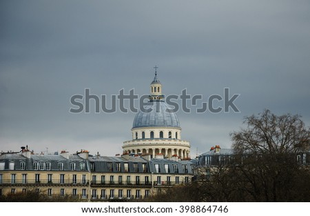 View on Pantheon building from Luxembourg gardens in cloudy day.  - stock photo