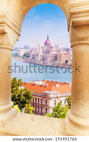 View on parliament from Fisherman's Bastion - stock photo