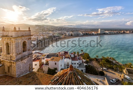 View on Peniscola  from the top of Pope Luna's  Castle , Valencia, Spain - stock photo