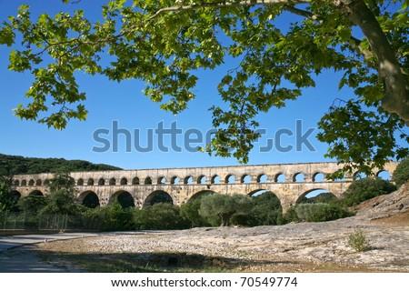 view on Pont du Gard - ancient Roman aqueduct - stock photo