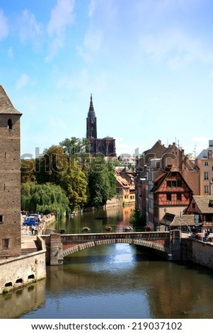 View on Ponts Couverts in Strasbourg�s Old Town � France, Alsace - stock photo