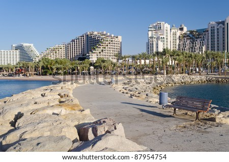 View on promenade in the northern beach of Eilat city, Israel